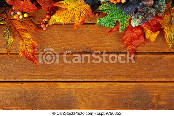bois, feuilles, fond, automne - csp59796852