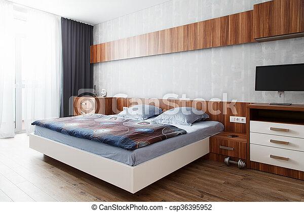 bois, finition, moderne, chambre à coucher