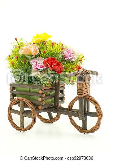 bois, fleur blanche, vélo, fond - csp32973036