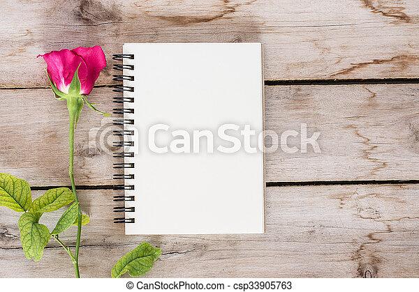 bois, fleur, valentine, rose, livre, fond, vendange, jour, rouges - csp33905763