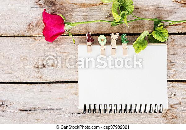 bois, fleur, vendange, valentine, livre texte, fond, rose, amour, jour, rouges - csp37982321