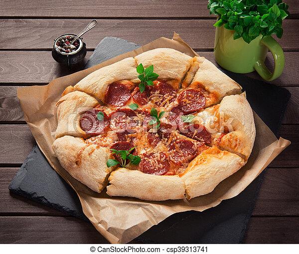 bois, fond, pepperoni, fait maison, pizza - csp39313741