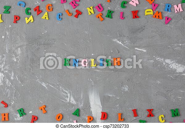 bois, inscription, lettres, coloré, anglaise - csp73202733