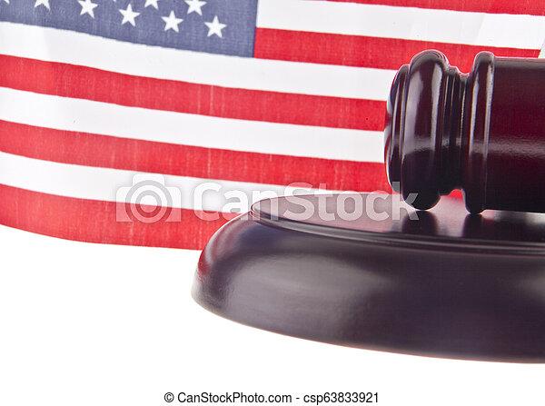 bois, isolé, drapeau usa, fond, blanc, marteau - csp63833921