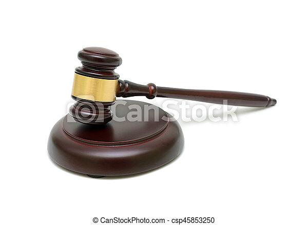 bois, isolé, fond, juge, blanc, marteau - csp45853250