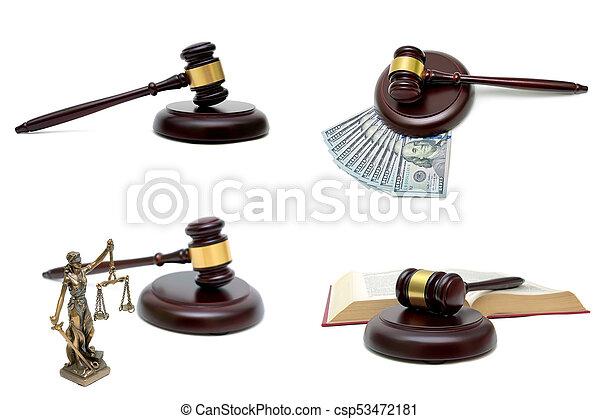 bois, isolé, fond, juge, blanc, marteau - csp53472181