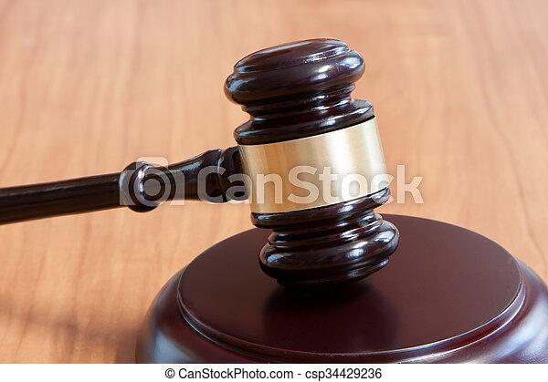 bois, judiciaire, marteau, table - csp34429236