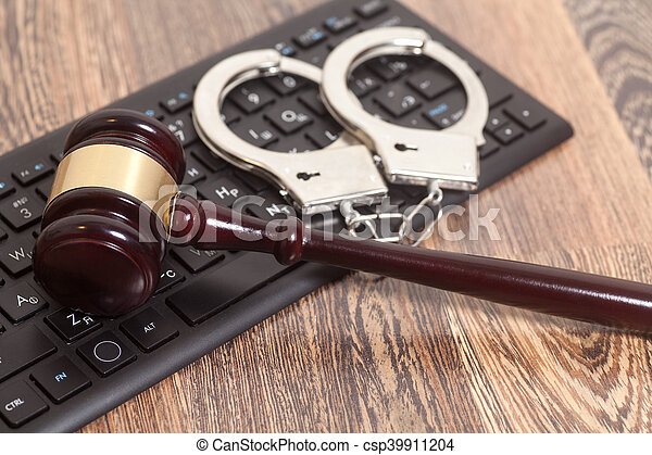 bois, juge, informatique, fond, clavier, marteau - csp39911204