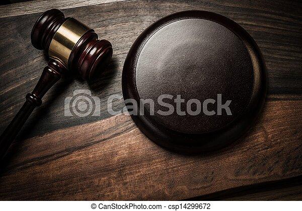 bois, juge, marteau, table - csp14299672