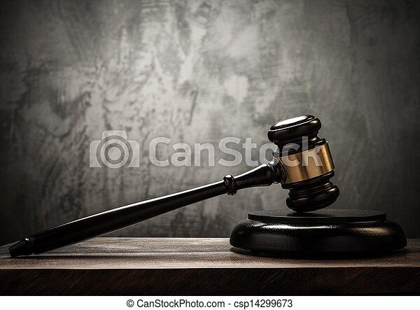 bois, juge, marteau, table - csp14299673