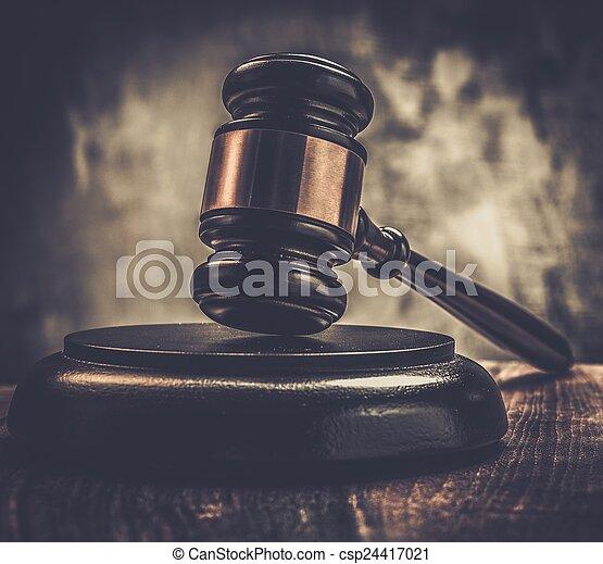 bois, juge, marteau, table - csp24417021