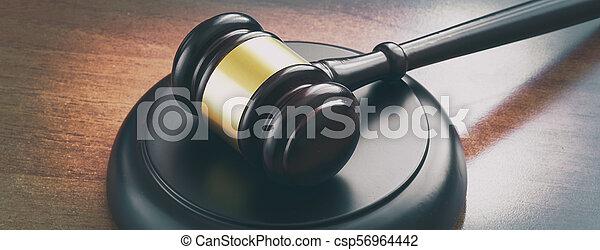 bois, juge, marteau, table - csp56964442