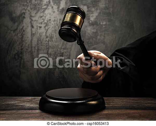 bois, juge, marteau, tenue - csp16053413