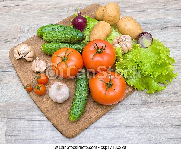bois, légumes, découpage, closeup, planche, table - csp17100220