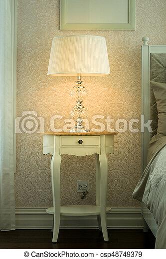 Bois Lampe Chevet Luxe Chambre A Coucher Table Blanc