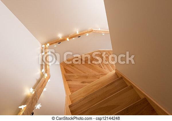 Bois, Lumières, Décorer, Escalier