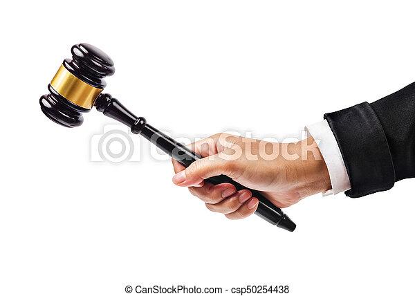 bois, mâle, possession main, gavel. - csp50254438