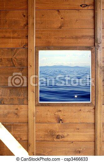 bois, marine, fenêtre, salle, vue - csp3466633