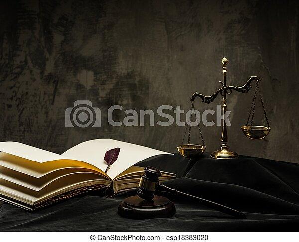 bois, marteau, manteau, juge, balances - csp18383020