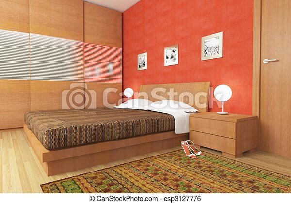 Bois, moderne, chambre à coucher. Moderne, illustration ...