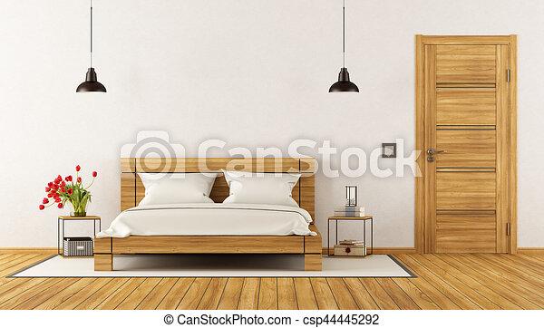 bois, moderne, lit, chambre à coucher