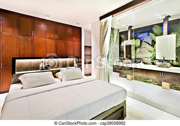 bois, moderne, mur verre, chambre à coucher, armoires