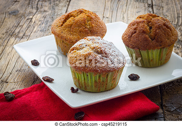 bois, muffins, table - csp45219115