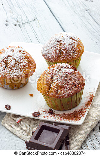 bois, muffins, table - csp48302074