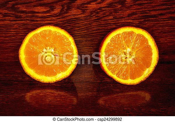 bois, orange, coupure, table, moitié - csp24299892