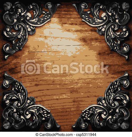 bois ornement fer bois vecteur ornement fer fait