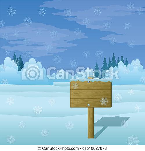 bois, paysage hiver, signe - csp10827873