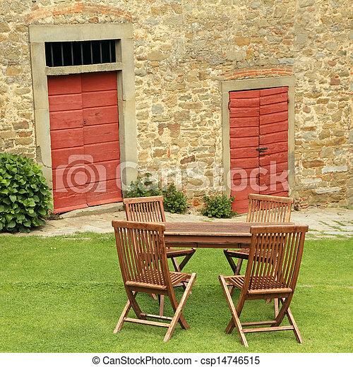 bois, pelouse, meubles jardin