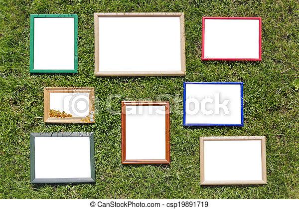 bois, photo, pelouse, cadres, printemps - csp19891719