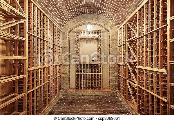 Cave A Vin En Brique bois, plafond, cave, brique, vin. bois, plafond, cave, construction