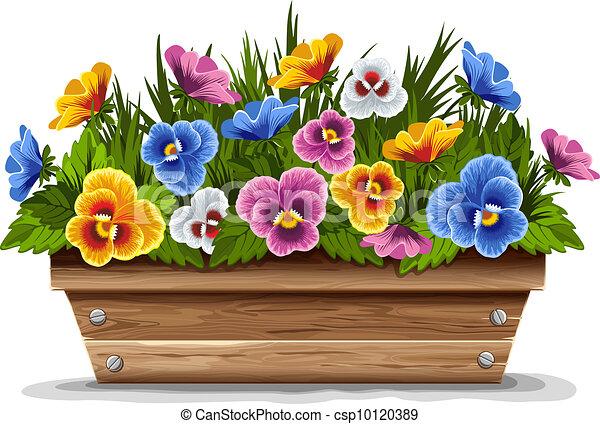 Bois pot fleur pens es pansies multi fleur color bois pot vecteur illustration - Pot fleur bois ...