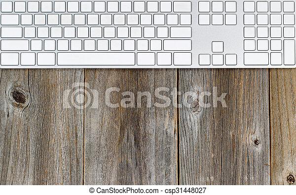Bois rustique clavier ordinateur bureau horizontal vieux