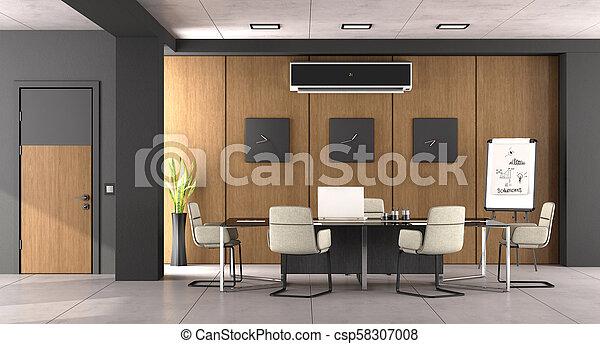 bois, salle réunion, moderne, noir - csp58307008