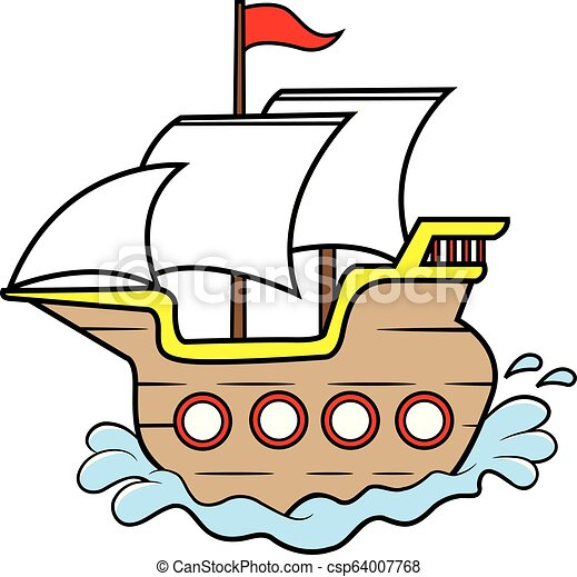 Bois Ship Dessin Anime Voile Bois Ship Illustration Voile Dessin Anime Canstock