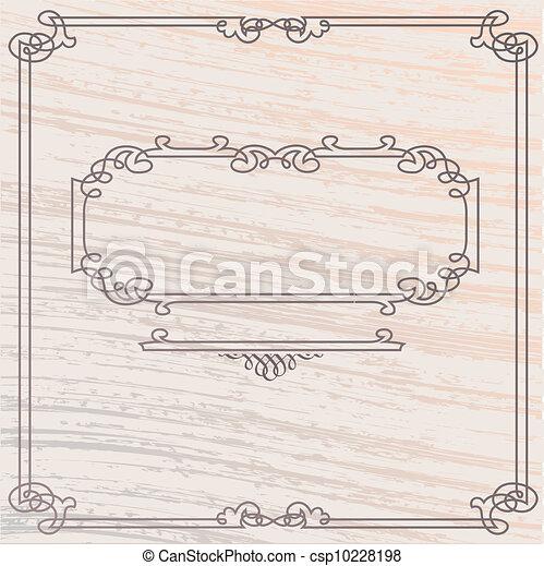bois, style, vieux, cadre, élégant, vecteur, inlay - csp10228198