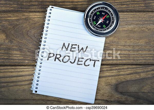 bois, texte, compas, projet, nouveau, table - csp39690024