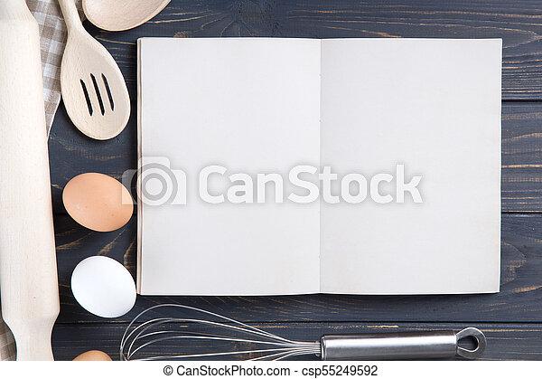 bois, ustensiles, table cuisine - csp55249592