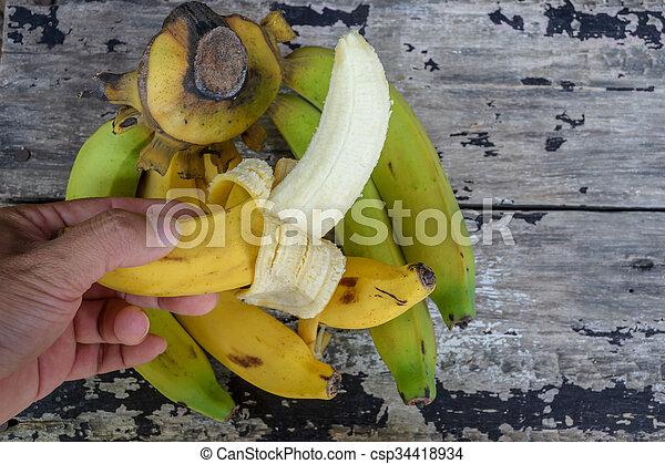 bois, vendange, bananes, table - csp34418934