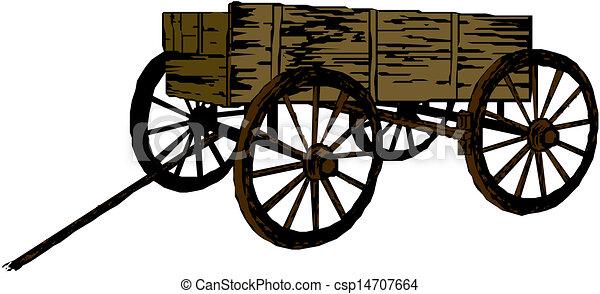 bois, vendange, charrette - csp14707664