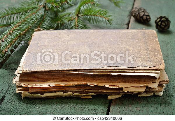bois, vendange, livre, vieux, table - csp42348066