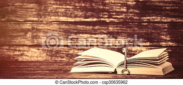 bois, vendange, livres, vieux, table - csp30635962