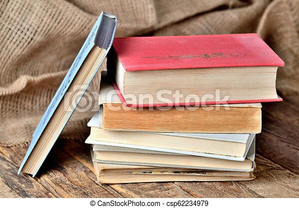 bois, vendange, rustique, livres, table, vieux - csp62234979