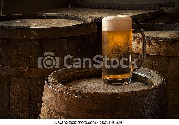 Table Baril bois, verre, bière, fond, table, baril.
