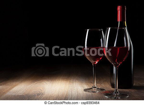 bois, vin verre, bouteille, table - csp9393464