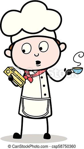 Boisson Cafe Recette Illustration Dessin Anime Chef Cuistot Chaud Vecteur Tenue Livre