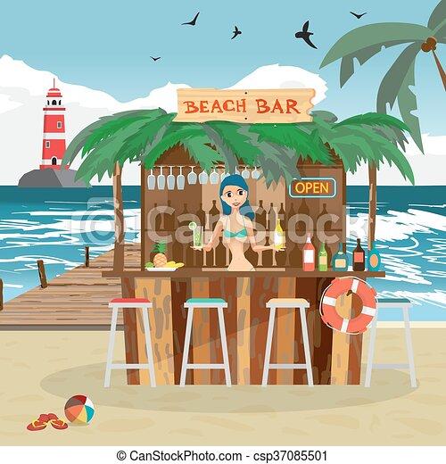 Boissons été Plage Barman Illustration Délassant Plat Pavillons Vacances Vecteur Dessin Animé Femme Tropicale Coast Fruits Barre